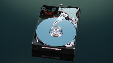 Hard Drive Without Cover Spins Slowly Around stock footage