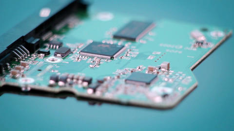 A circuit board revolves Footage