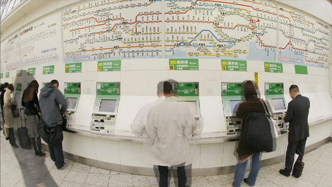 Passengers purchase JR subway tickets in Ueno Station,... Stock Video Footage