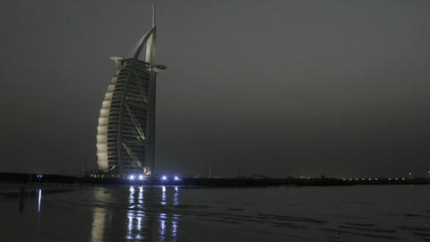 Day turns to night in this time lapse shot of Dubai with... Stock Video Footage