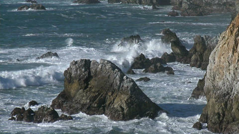 Winter waves crashing against the rocks of the Big Sur Coast of California Footage