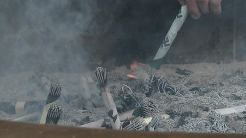 Burning incense in the Senso-ji or Asakusa Kannon-do... Stock Video Footage