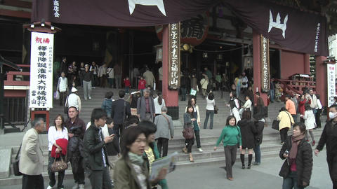 Visitors to the Senso-ji or Asakusa Kannon-do Temple,... Stock Video Footage