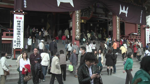 Visitors to the Senso-ji or Asakusa Kannon-do Temple, located in Tokyo, Japan Footage