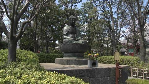 A pan across a buddha statue in the Senso-ji Temple... Stock Video Footage