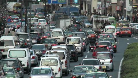 Rush hour traffic jam in Shibuya, Tokyo, Japan Footage