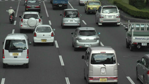 Rush hour traffic jam in Kyoto, Japan Stock Video Footage