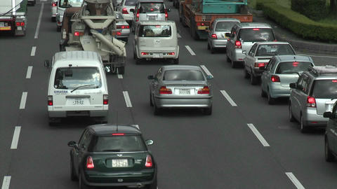 Rush hour traffic jam in Kyoto, Japan Footage