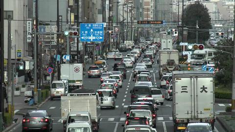 Rush hour traffic jam in Kyoto, Japan Footage