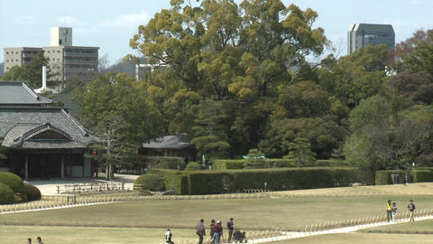 Pan across Koraku-en Park, said to be one of the... Stock Video Footage