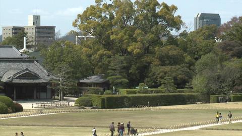 Pan across Koraku-en Park, said to be one of the... Stock Video Footage