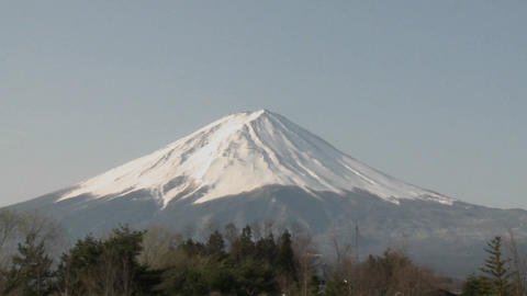 Move in on Mt. Fuji from Lake Kawaguchi, Japan Stock Video Footage