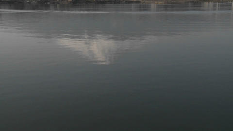 Vertical pan of Mt. Fuji reflected in Lake Kawaguchi, Japan Stock Video Footage