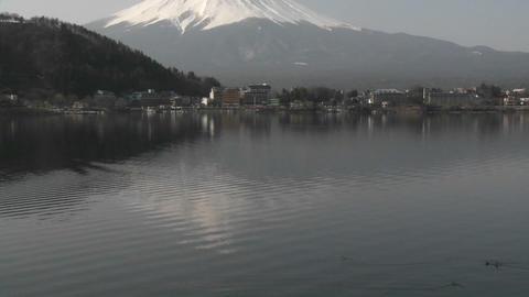 Mt. Fuji reflected in Lake Kawaguchi, Japan Footage