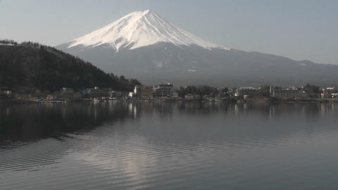 Mt. Fuji reflected in Lake Kawaguchi, Japan Stock Video Footage