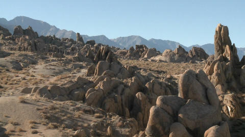 Pan across the Alabama Hills and the Sierra Nevada Range above Lone Pine, California Footage