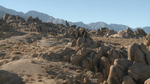 Pan across the Alabama Hills and the Sierra Nevada Range... Stock Video Footage