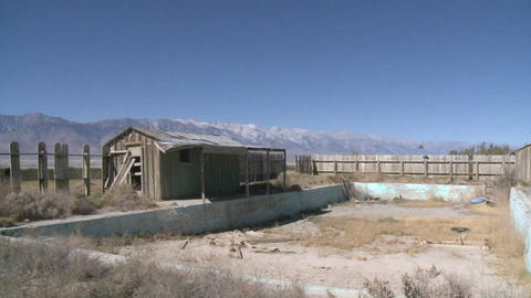 Pan across the Owens Valley to the Sierra Nevada Range near Lone Pine, California Footage