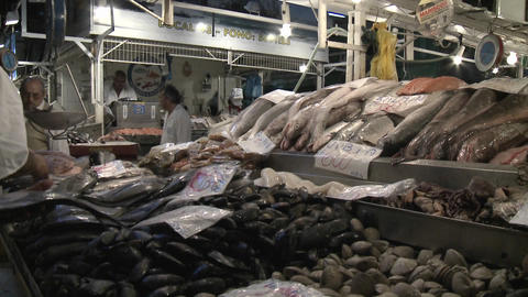 A fish vendor's stall in the Central Market, Santiago, Chile Stock Video Footage