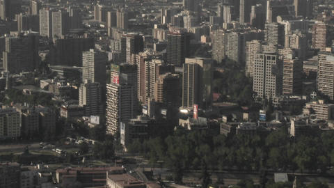 Pan across the smog filled city of Santiago, Chile Stock Video Footage