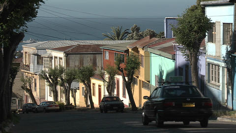 A colorful city street overlooking the ocean in... Stock Video Footage