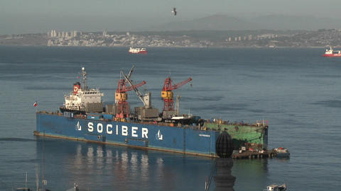 A floating dry dock in the harbor at Valparaiso, Chile Stock Video Footage