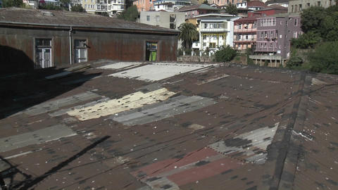 Vertical pan of the colorful houses of Valparaiso, Chile Stock Video Footage