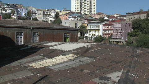 Vertical pan of the colorful houses of Valparaiso, Chile Footage