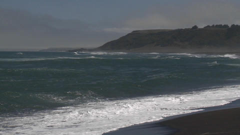 Surf on the beach at Buchepureo, a tranquil village that is popular with surfers, Chile Footage