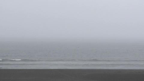 Rain, fog and surf at Buchepureo, Chile Stock Video Footage