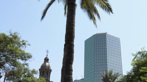 Vertical pan in the Plaza de Armas, Santiago, Chile Stock Video Footage