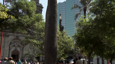 Vertical pan in the Plaza de Armas, Santiago, Chile Stock Video Footage