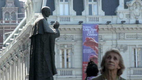 Statue in the Plaza de Armas, Santiago, Chile Stock Video Footage
