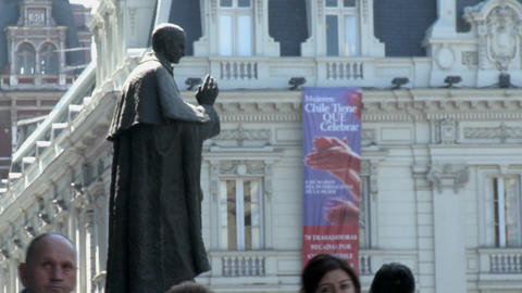Statue in the Plaza de Armas, Santiago, Chile Footage