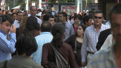 Foot traffic on Huerfanos, a pedestrian street in... Stock Video Footage