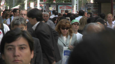 Foot traffic on Huerfanos, a pedestrian street in downtown Santiago, Chile Footage