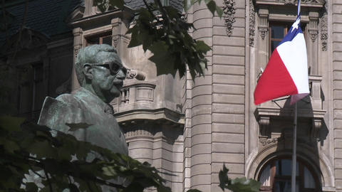 A statue of Salvador Allende near La Moneda in Santiago,... Stock Video Footage