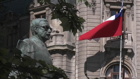 A statue of Salvador Allende near La Moneda in Santiago, Chile Footage