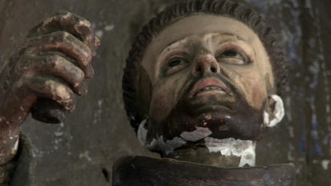 A statue in the Iglesia de San Franciso and Museo Colonial, Santiago, Chile Footage