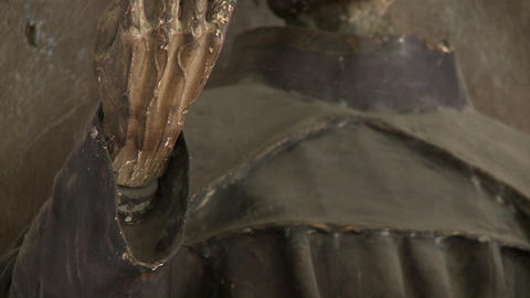 Vertical pan on a statue in the Iglesia de San Franciso... Stock Video Footage