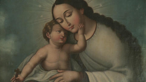 A vertical pan of a painting of Mary and Christ, located... Stock Video Footage