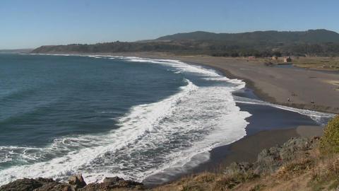 The Pacific coast near Buchupureo, a popular surf beach... Stock Video Footage