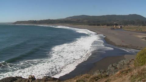 The Pacific coast near Buchupureo, a popular surf beach in Chile Footage