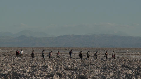Tourists at the Laguna Chaxa at the Salar de Atacama in the Reserva Nacional Los Flamencos near San Footage
