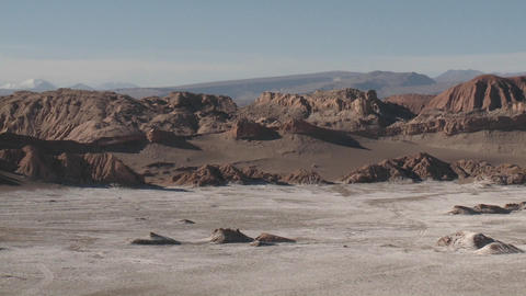 Pan across the Valley of the Moon and the Andes mountains... Stock Video Footage