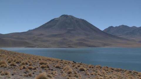 Move in on Laguna Miscanti high above San Pedro de Atacama, Chile Footage