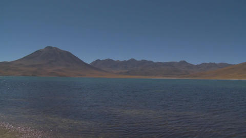 Pan across Laguna Miniques, located high above San Pedro... Stock Video Footage