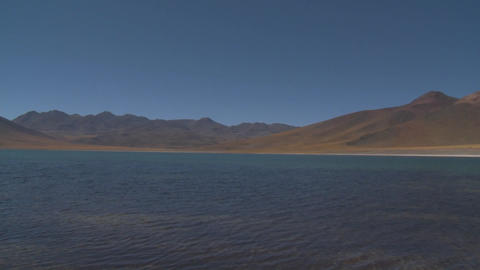 Pan across Laguna Miniques, located high above San Pedro de Atacama, Chile Footage