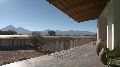 A view of Lincancabur and the Andes from the deck of the... Stock Video Footage