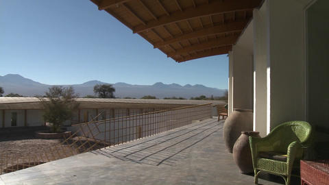 A view of Lincancabur and the Andes from the deck of the Explora Hotel in San Pedro de Atacama, Chil Footage